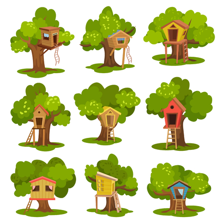 Tree houses set, wooden huts on green trees for kids outdoor activity and recreation vector Illustrations isolated on a white background.
