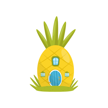 Small house made from pineapple, fairytale fantasy house for gnome, dwarf or elf vector Illustration on a white background