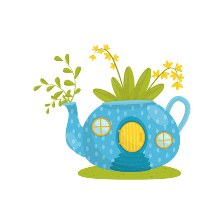 Small house made from blue teapot, fairytale fantasy house for gnome, dwarf or elf vector Illustration isolated on a white background.