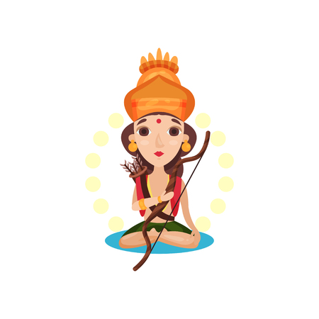 Rama Indian god with bow and arrow cartoon vector Illustration on a white background