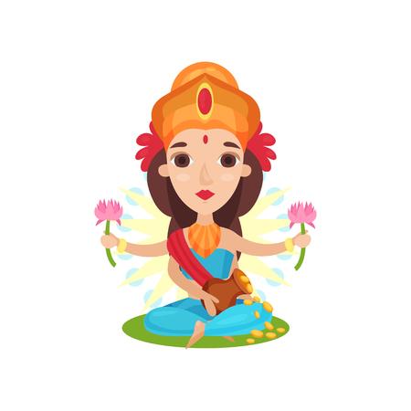 Lakshmi Indian goddess of wealth, grace and charm cartoon vector Illustration on a white background Illustration