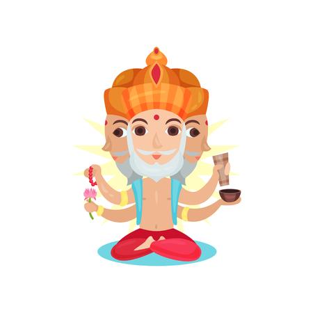 Brahma Indian many faced god, great God of creation cartoon vector Illustration on a white background Illustration