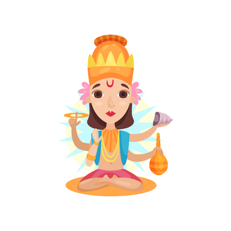 Kali Indian goddes supports the world order cartoon vector Illustration on a white background