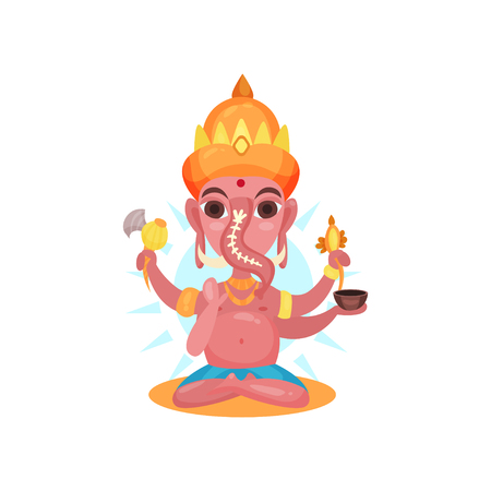 Ganesha Indian god of wisdom and wealth cartoon vector Illustration on a white background