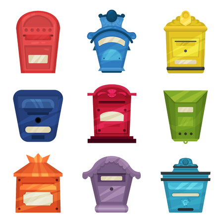 Collection of vintage mailboxes. Classic wall mounted metallic postal boxes. Colorful containers for letters and newspapers. Cartoon style icons. Flat vector illustrations isolated on white background