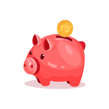 Pink piggy bank with 10 cent. Small ceramic money box for coins. Decorative graphic element for advertising poster or banner. Colorful vector illustration in flat style isolated on white background.