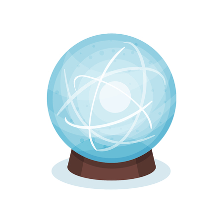Blue magic ball on wooden stand. Glass sphere with shiny sparkles inside. Graphic element for mobile game or advertising poster. Colorful vector illustration in flat style isolated on white background Illustration