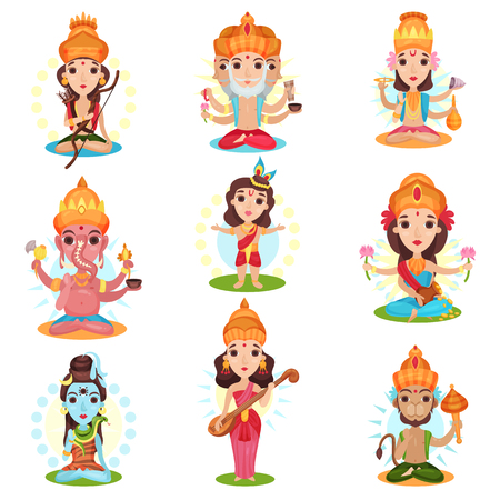 Indian god and goddess set, Rama, Brahma, Kali, Ganesha, Lakshmi, Shiva, Saraswati, Hanuman vector Illustrations on a white background 写真素材 - 107940787