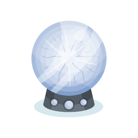 Cartoon icon of soothsayer s crystal ball. Magic sphere on gray stand. Object for prediction of future. Graphic element for mobile game. Colorful flat vector illustration isolated on white background. Vettoriali