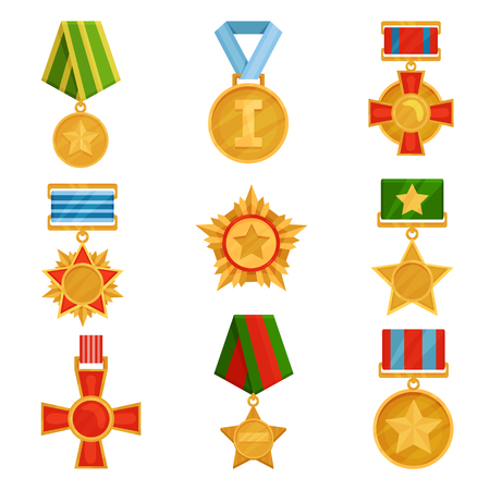 Collection of different military medals with colorful ribbons. Shiny golden orders. Symbols of victory. Veterans day theme. Cartoon vector illustrations in flat style isolated on white background.