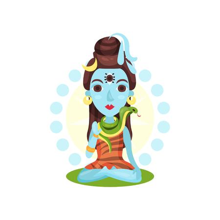 Shiva Indian god, the supreme god in Shaivism cartoon vector Illustration on a white background