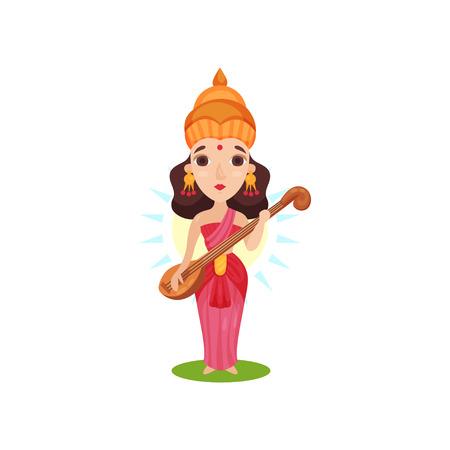 Saraswati Indian goddess of knowledge, arts, music, wisdom and learning cartoon vector Illustration on a white background Illustration