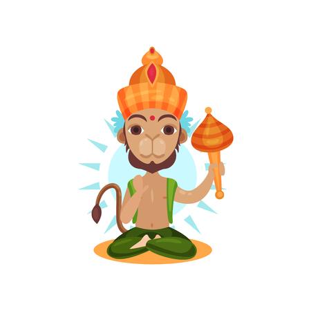 Hanuman Indian god, leader of the army of monkeys cartoon vector Illustration on a white background Illustration