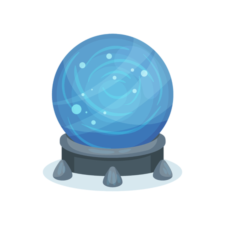 Big blue magic ball on gray stand. Crystal sphere with sparkles inside. Flat vector for mobile game or children book