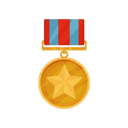 Golden medal in round shape with star in center and red-blue ribbon. Shiny award for courage. Flat vector icon
