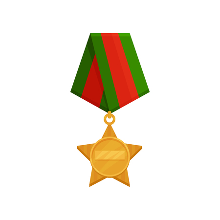 Flat vector icon of star-shaped medal with bright red-green ribbon. Golden order. Honorary military award Stock Photo