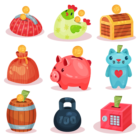 Set of money boxes in different forms. Small containers for saving coins and banknotes. Economy and financial theme. Graphic elements for promo poster, mobile game or app. Isolated flat vector icons.