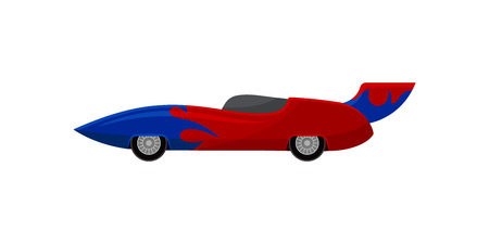 Bright red racing car with blue wrap decal and spoiler. Vintage automobile. Extreme auto sport. Colorful graphic element for mobile game. Vector illustration in flat style isolated on white background Illusztráció
