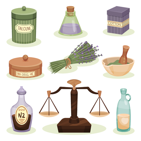 Set of pharmacy elements. Jar with talcum, cotton and drugs, bottles with liquids, mortar with pestle, scales, lavender flowers. Alternative medicine theme. Vintage design. Isolated flat vector icons. 向量圖像