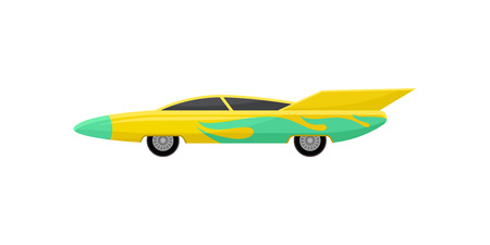 Icon of bright yellow racing car with green wrap decal, side view. Fast sports vehicle with tinted windows and spoiler. Graphic element for mobile game. Flat vector design isolated on white background Illusztráció