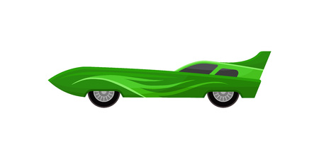 Vintage racing automobile with spoiler and tinted windows. Icon of bright green sports car. Fast road vehicle. Cartoon style illustration. Colorful flat vector design isolated on white background. Illusztráció