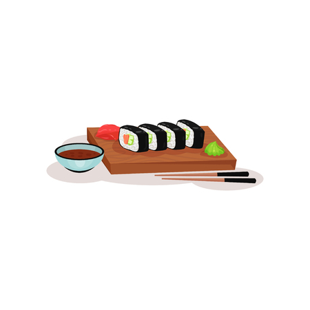 Sushi rolls, wasabi and ginger on wooden plate, bowl of soy sauce and sticks. Traditional dish of Asian cuisine. Colorful graphic element for restaurant or cafe menu. Isolated flat vector illustration