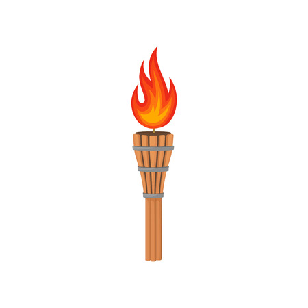 Illustration of brown bamboo torch with bright fiery flame. Decorative graphic element poster or flyer of beach party. Cartoon style icon. Colorful flat vector design isolated on white background.