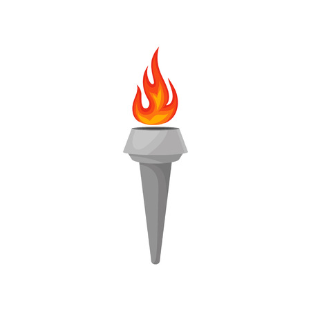 Gray torch with hot blazing fire. Bright red-orange burning flame. Symbol of games. Flat vector icon