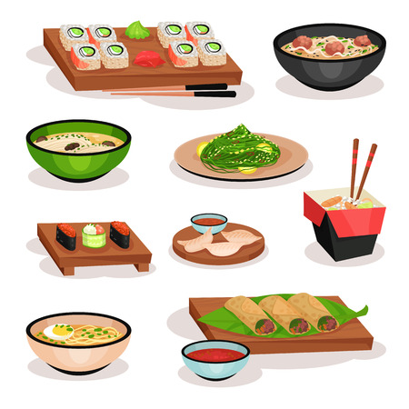 Set of tasty Asian food. Sushi, soups, spring rolls, boiled dumplings and noodles. Oriental dishes. Graphic elements for menu or recipe book. Colorful flat vector icons isolated on white background.