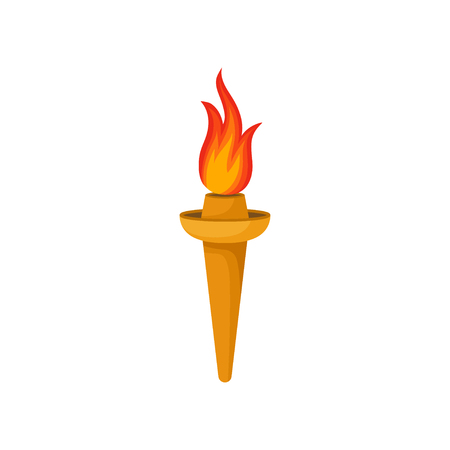 Golden torch with bright red-orange fiery flame. Symbol of games. Flat vector element for computer or mobile game