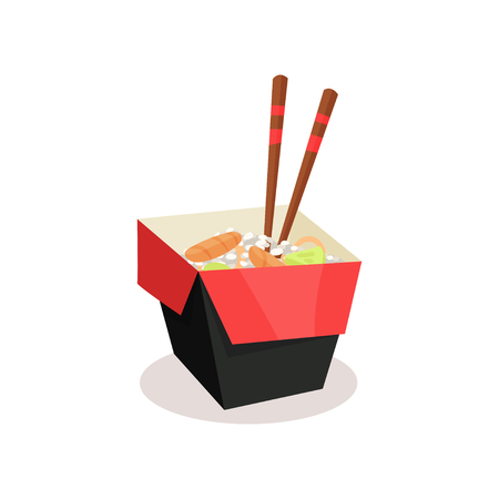 Opened cardboard box with rice, salmon, avocado and wooden sticks. Takeaway food. Delicious Asian meal. Colorful graphic element for promo poster or banner. Flat vector illustration isolated on white. 矢量图像