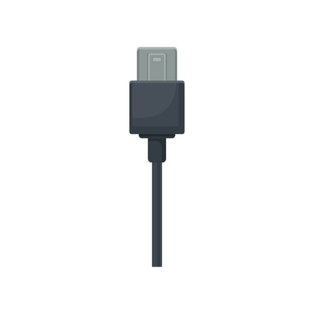 USB universal serial bus connector with black cable. Object for connecting devices. Flat vector design