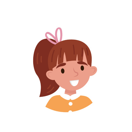 Lovely girl with ponytail, avatar of cute little kid vector Illustration isolated on a white background.