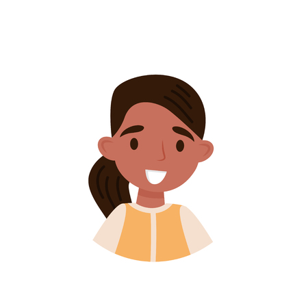 Lovely brunette girl, avatar of cute little girl with ponytail vector Illustration isolated on a white background.