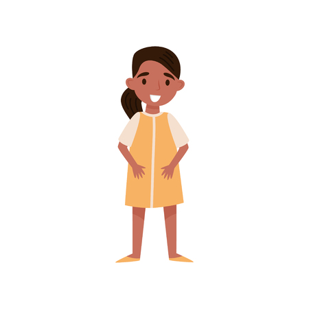 Cute smiling hispanic little girl standing vector Illustration isolated on a white background.