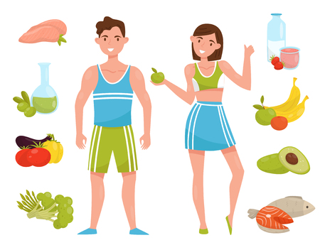 Fitness young woman and man characters with healthy food, people choosing healthy lifestyle vector Illustration isolated on a white background.