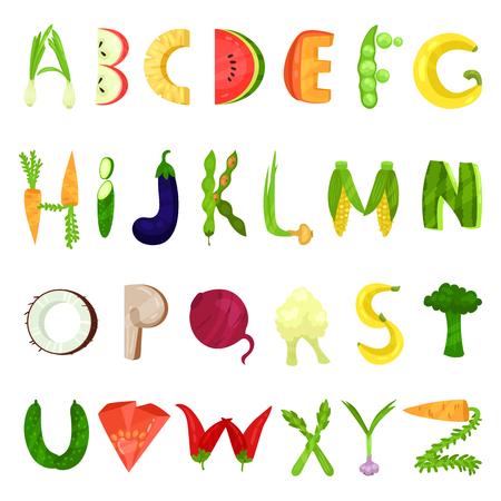 Veggie englischen Alphabet Buchstaben aus frischem Gemüse Vektor Illustration isoliert auf weißem Hintergrund.