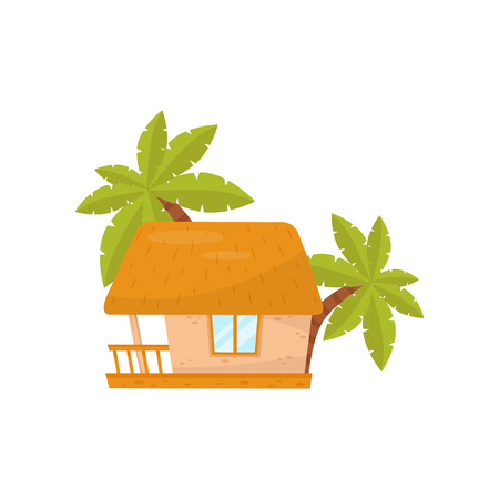 Summer beach house, small straw hut vector Illustration on a white background