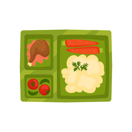 Plastic lunch box with mashed potatoes, chicken leg and fresh vegetables carrot, tomatoes, cucumbers . Green tray with appetizing food. Colorful flat vector illustration isolated on white background.
