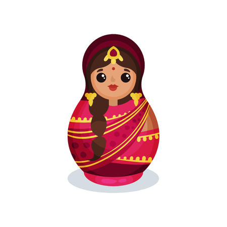 Nesting doll in traditional Indian costume, wooden matryoshka vector Illustration isolated on a white background.