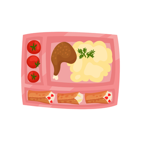 Pink lunch box with fresh tomatoes, mashed potatoes with chicken leg and pancakes with cottage cheese. Plastic container with appetizing food. Cartoon style icon. Isolated flat vector illustration. Ilustração