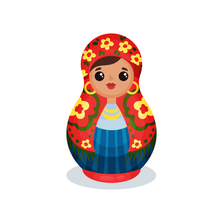 Nesting doll, Russian wooden matryoshka vector Illustration isolated on a white background.