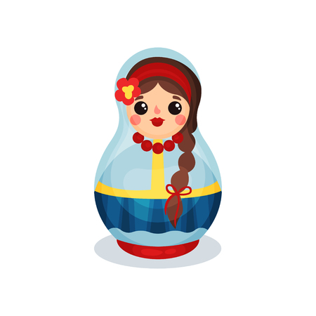 Nesting doll, traditional Russian wooden matryoshka vector Illustration isolated on a white background.
