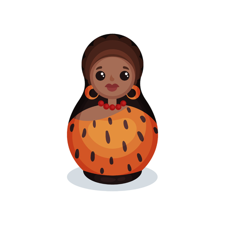 Nesting doll painted as prehistoric women, wooden matryoshka vector Illustration isolated on a white background.