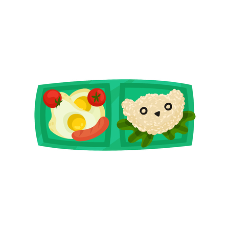 Green lunch box with fried eggs with tomatoes and sausage, rice in shape of bear head. Plastic tray with food. Flat vector icon Illustration