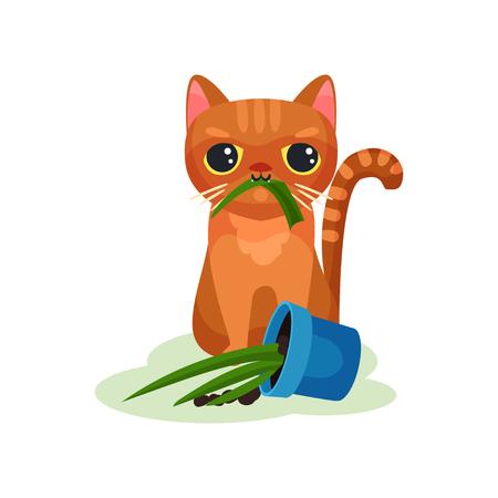 Gatito travieso comiendo planta de la casa, vector de gato pequeño lindo travieso ilustración aislada sobre fondo blanco. Ilustración de vector