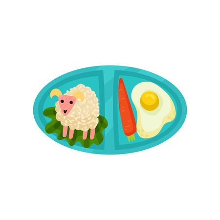 Oval lunch box with appetizing food. Fried egg with carrot and rice in shape of cute sheep. Blue plastic tray with tasty meal. Colorful vector illustration in flat style isolated on white background. Illustration