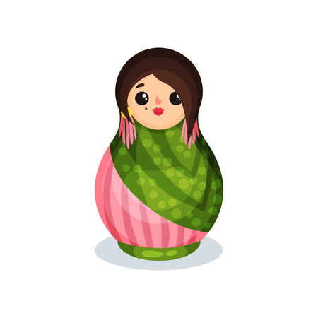 Nesting doll, colorful wooden matryoshka vector Illustration isolated on a white background.