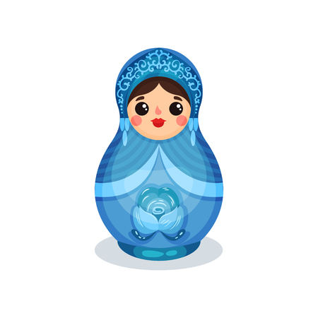 Nesting doll, Russian wooden matryoshka with Gzhel ornament vector Illustration isolated on a white background.
