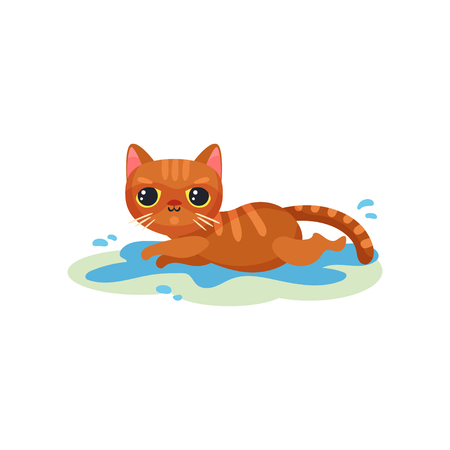 Naughty kitten lying in a puddle on the floor, mischievous cute little cat vector Illustration on a white background